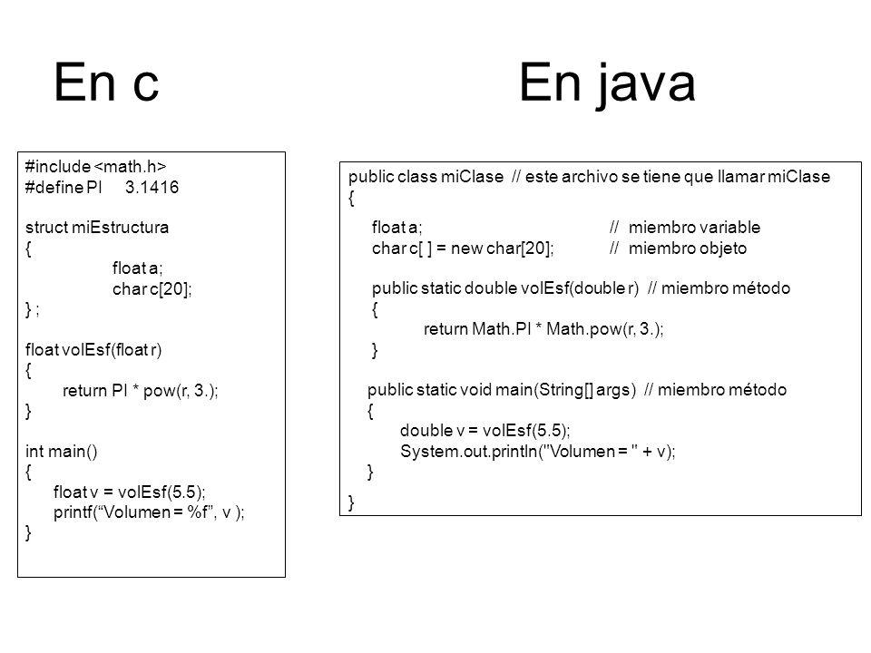 En c En java #include #define PI 3.1416 struct miEstructura { float a; char c[20]; } ; float volEsf(float r) { return PI * pow(r, 3.); } int main() { float v = volEsf(5.5); printf(Volumen = %f, v ); } public class miClase // este archivo se tiene que llamar miClase { float a; // miembro variable char c[ ] = new char[20]; // miembro objeto public static double volEsf(double r) // miembro método { return Math.PI * Math.pow(r, 3.); } public static void main(String[] args) // miembro método { double v = volEsf(5.5); System.out.println( Volumen = + v); }