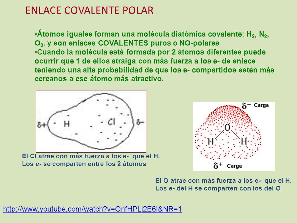 http://www.youtube.com/watch?v=OnfHPLj2E6I&NR=1 ENLACE COVALENTE POLAR Átomos iguales forman una molécula diatómica covalente: H 2, N 2, O 2. y son en