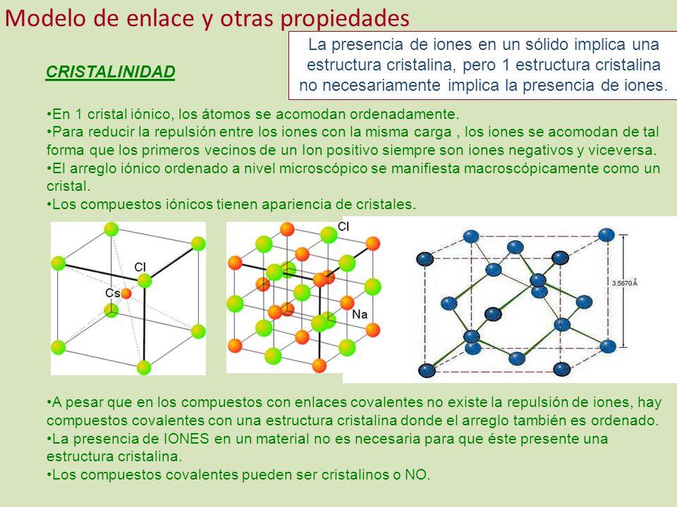 Modelo de enlace y otras propiedades CRISTALINIDAD En 1 cristal iónico, los átomos se acomodan ordenadamente. Para reducir la repulsión entre los ione