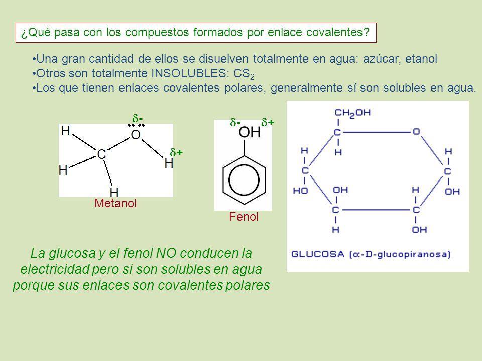 ¿Qué pasa con los compuestos formados por enlace covalentes? Una gran cantidad de ellos se disuelven totalmente en agua: azúcar, etanol Otros son tota