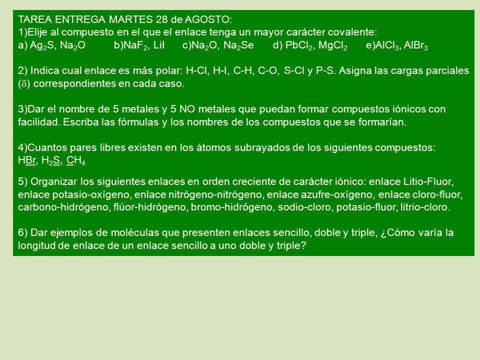 TAREA ENTREGA MARTES 28 de AGOSTO: 1)Elije al compuesto en el que el enlace tenga un mayor carácter covalente: a) Ag 2 S, Na 2 Ob)NaF 2, LiI c)Na 2 O,