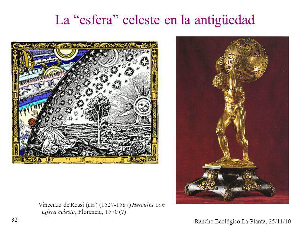 Rancho Ecológico La Planta, 25/11/10 32 La esfera celeste en la antigüedad Vincenzo de'Rossi (atr.) (1527-1587) Hercules con esfera celeste, Florencia