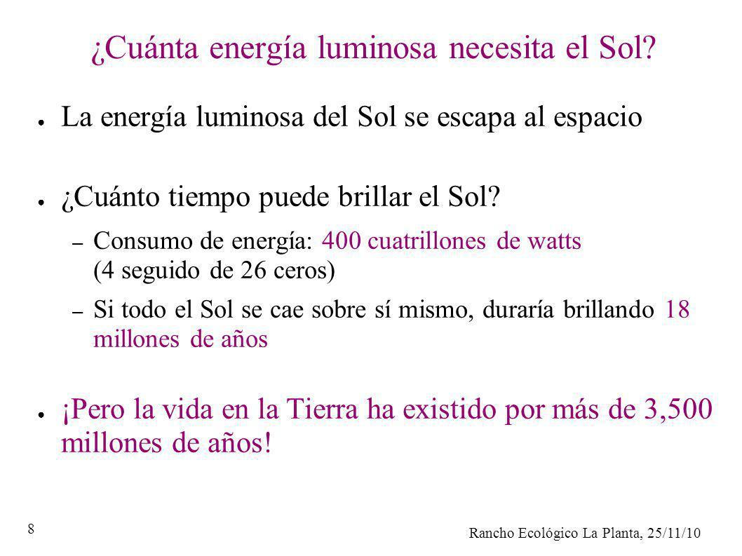 Rancho Ecológico La Planta, 25/11/10 8 ¿Cuánta energía luminosa necesita el Sol? La energía luminosa del Sol se escapa al espacio ¿Cuánto tiempo puede