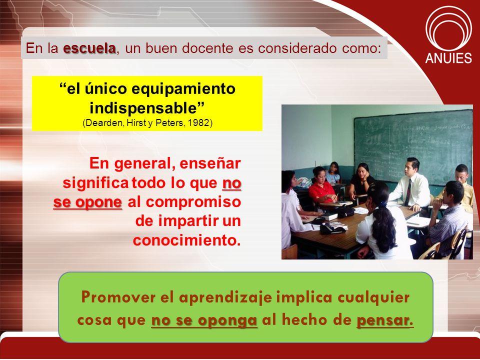 15 el único equipamiento indispensable (Dearden, Hirst y Peters, 1982) escuela En la escuela, un buen docente es considerado como: no se opone En gene