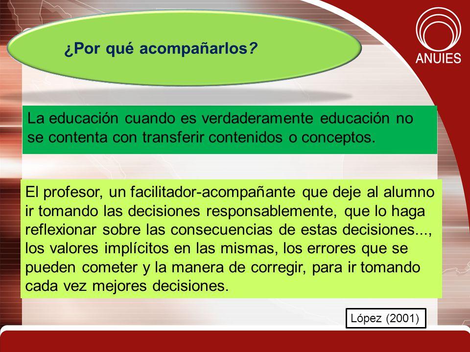 La educación cuando es verdaderamente educación no se contenta con transferir contenidos o conceptos. ¿Por qué acompañarlos? López (2001) El profesor,