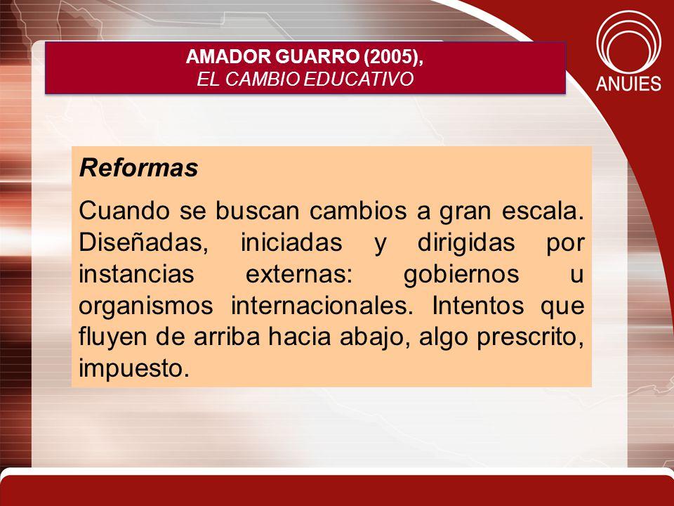 AMADOR GUARRO (2005), EL CAMBIO EDUCATIVO AMADOR GUARRO (2005), EL CAMBIO EDUCATIVO Reformas Cuando se buscan cambios a gran escala. Diseñadas, inicia