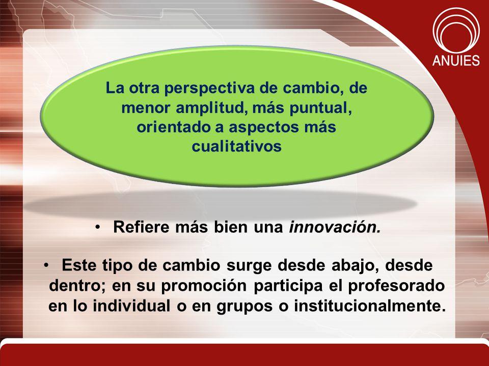 Refiere más bien una innovación. Este tipo de cambio surge desde abajo, desde dentro; en su promoción participa el profesorado en lo individual o en g