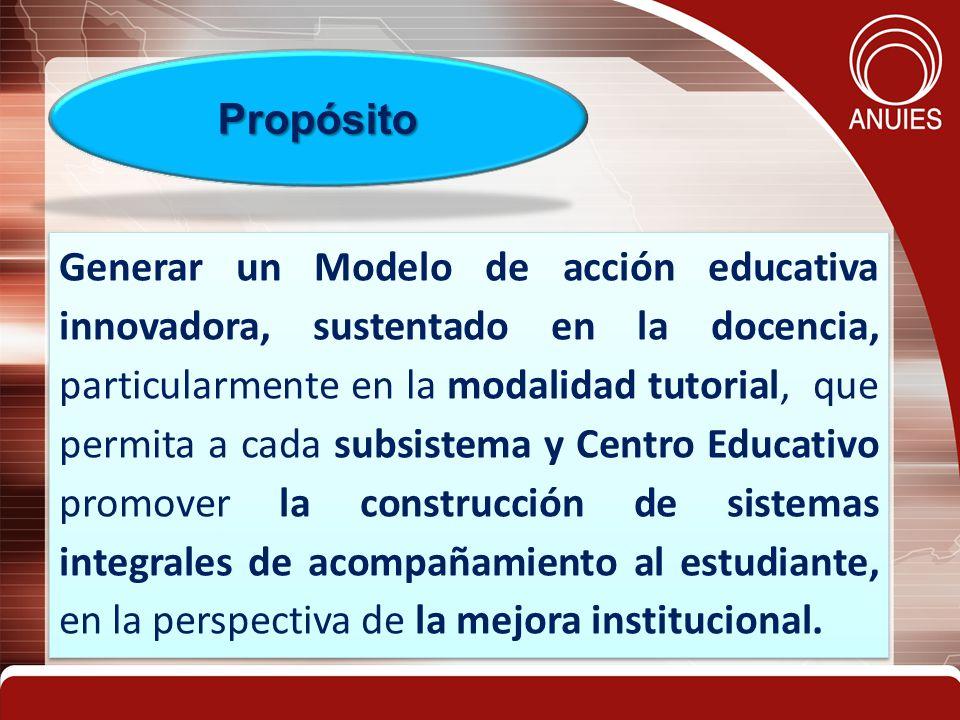 Generar un Modelo de acción educativa innovadora, sustentado en la docencia, particularmente en la modalidad tutorial, que permita a cada subsistema y