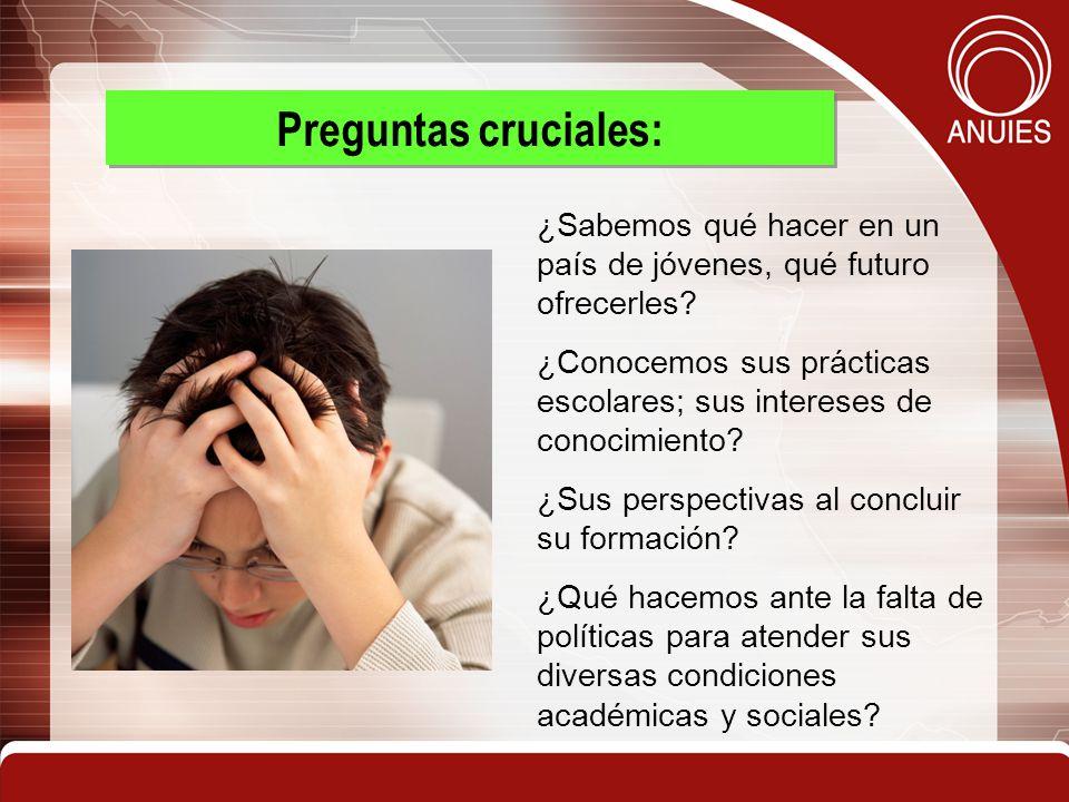 3 Preguntas cruciales: ¿Sabemos qué hacer en un país de jóvenes, qué futuro ofrecerles? ¿Conocemos sus prácticas escolares; sus intereses de conocimie