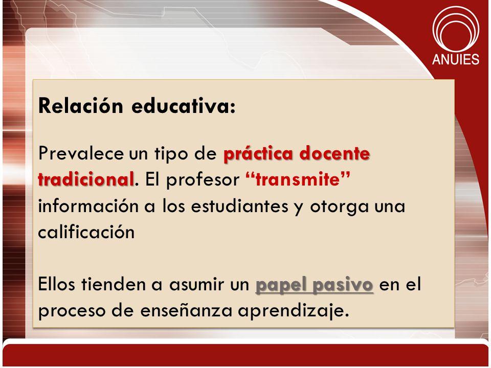 Relación educativa: práctica docente tradicional Prevalece un tipo de práctica docente tradicional. El profesor transmite información a los estudiante