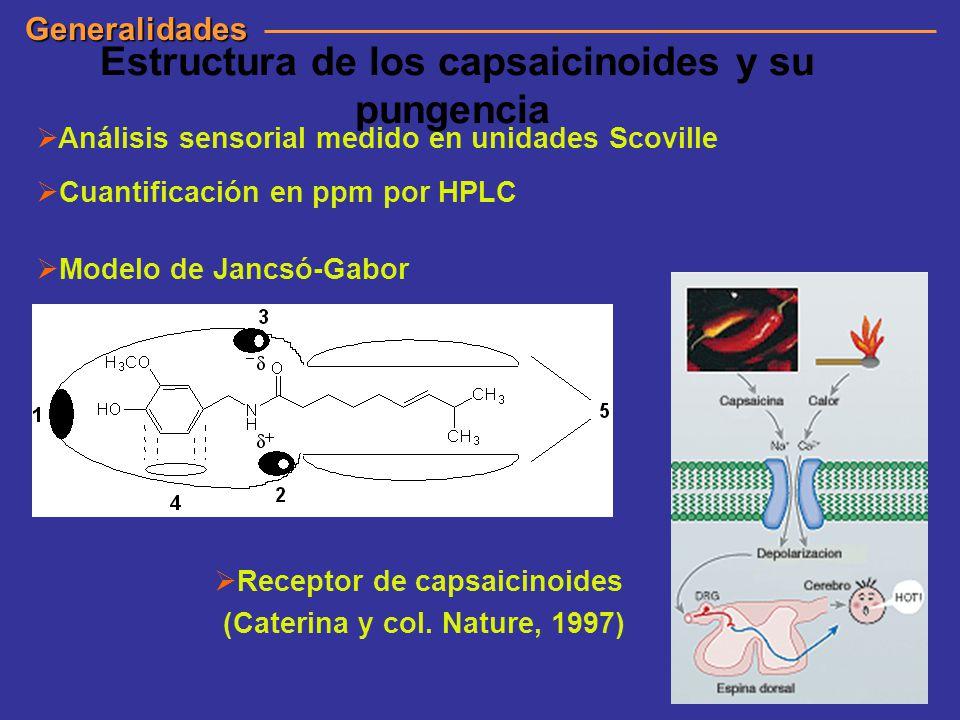 Estructura de los capsaicinoides y su pungencia Análisis sensorial medido en unidades Scoville Cuantificación en ppm por HPLC Modelo de Jancsó-Gabor G