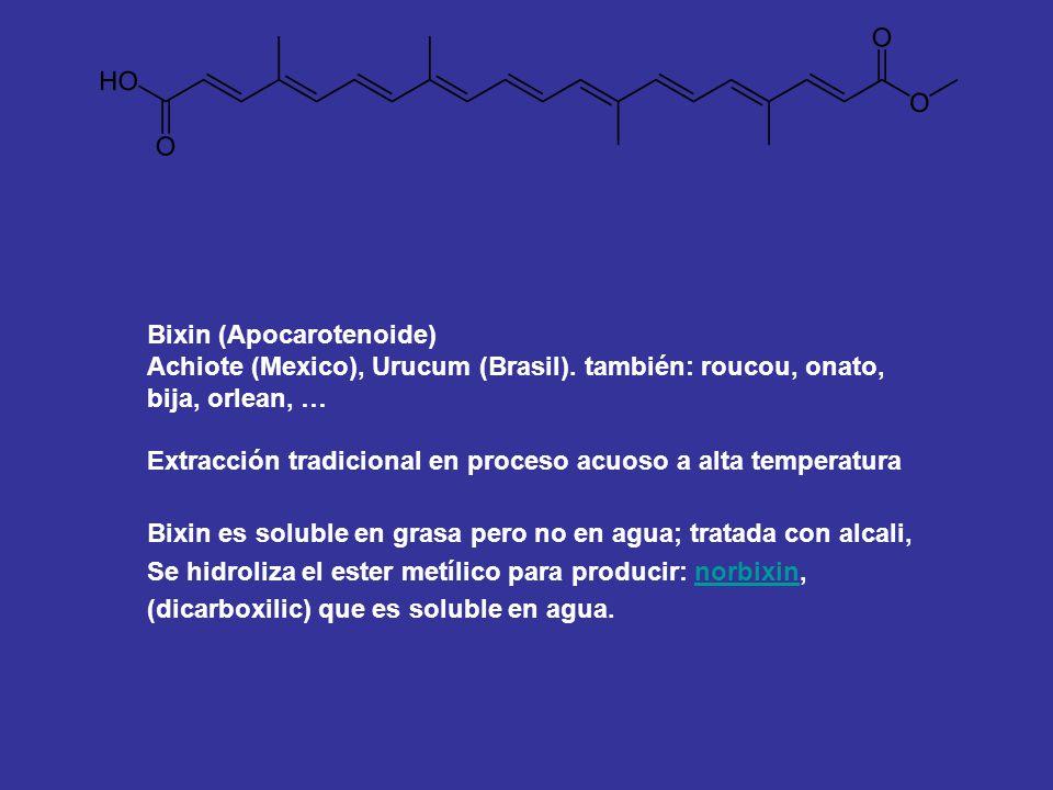 Bixin (Apocarotenoide) Achiote (Mexico), Urucum (Brasil). también: roucou, onato, bija, orlean, … Extracción tradicional en proceso acuoso a alta temp