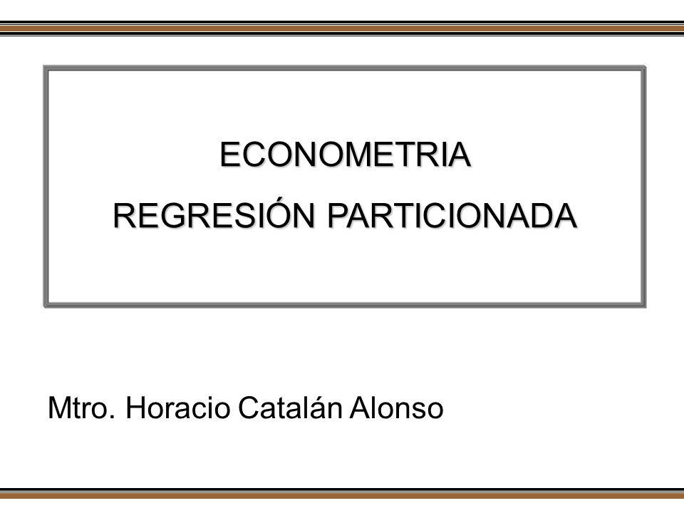 Taller de Econometría Un análisis por separado de las variables afectará los resultados de un análisis conjunto Inclusión de términos como constante, tendencia ó variables dummy En el contexto de un modelo de regresión múltiple los resultados de la proyección no cambian si se considera una partición eb las variables explicativas Horacio Catalán Alonso Econometría
