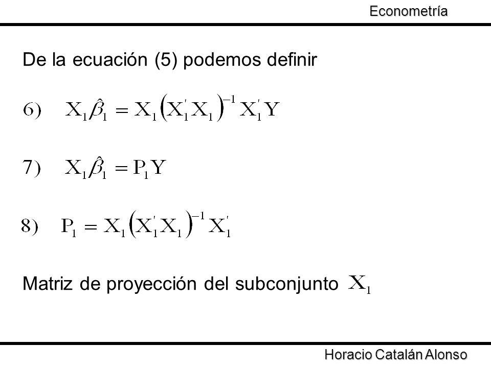 Taller de Econometría De la ecuación (5) podemos definir Horacio Catalán Alonso Econometría Matriz de proyección del subconjunto