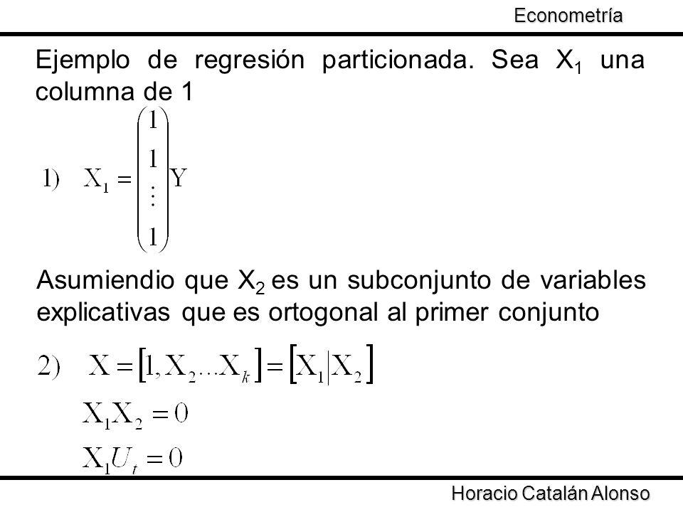 Taller de Econometría Ejemplo de regresión particionada. Sea X 1 una columna de 1 Horacio Catalán Alonso Econometría Asumiendio que X 2 es un subconju