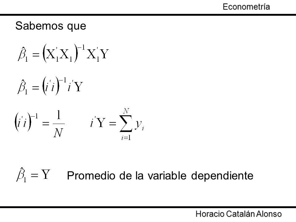 Taller de Econometría Sabemos que Horacio Catalán Alonso Econometría Promedio de la variable dependiente