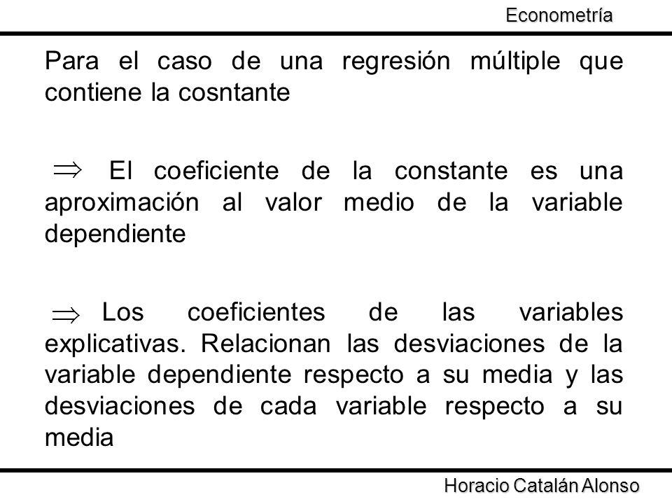 Taller de Econometría Horacio Catalán Alonso Econometría Para el caso de una regresión múltiple que contiene la cosntante El coeficiente de la constan