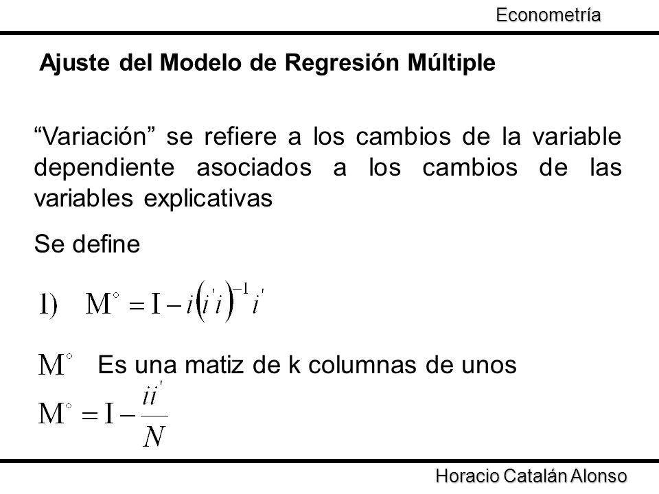 Taller de Econometría Variación se refiere a los cambios de la variable dependiente asociados a los cambios de las variables explicativas Se define Ho