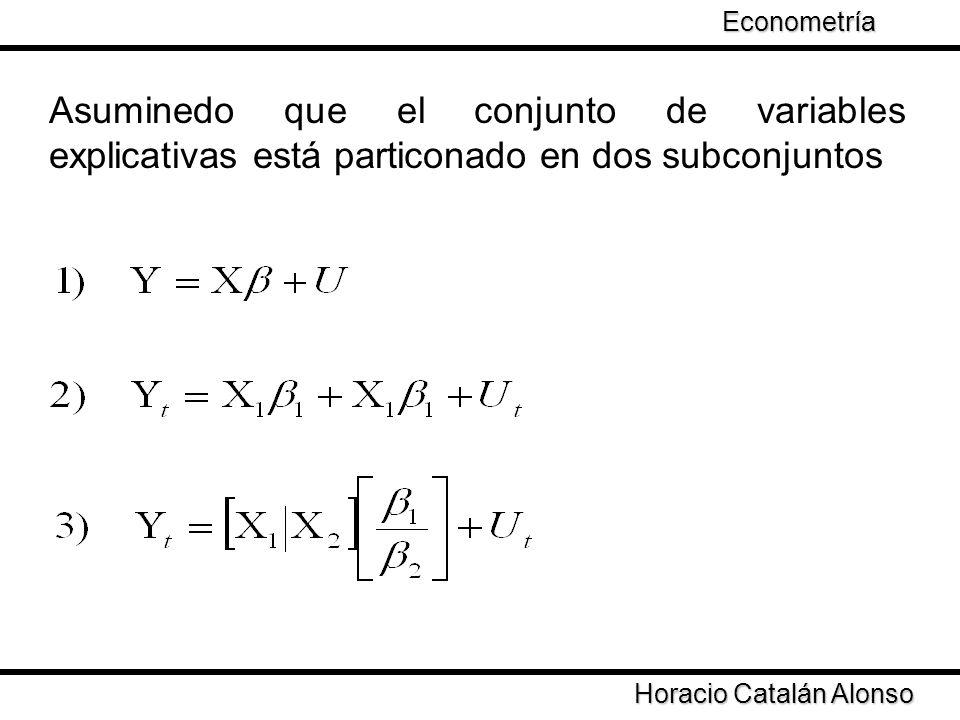 Taller de Econometría Asuminedo que el conjunto de variables explicativas está particonado en dos subconjuntos Horacio Catalán Alonso Econometría