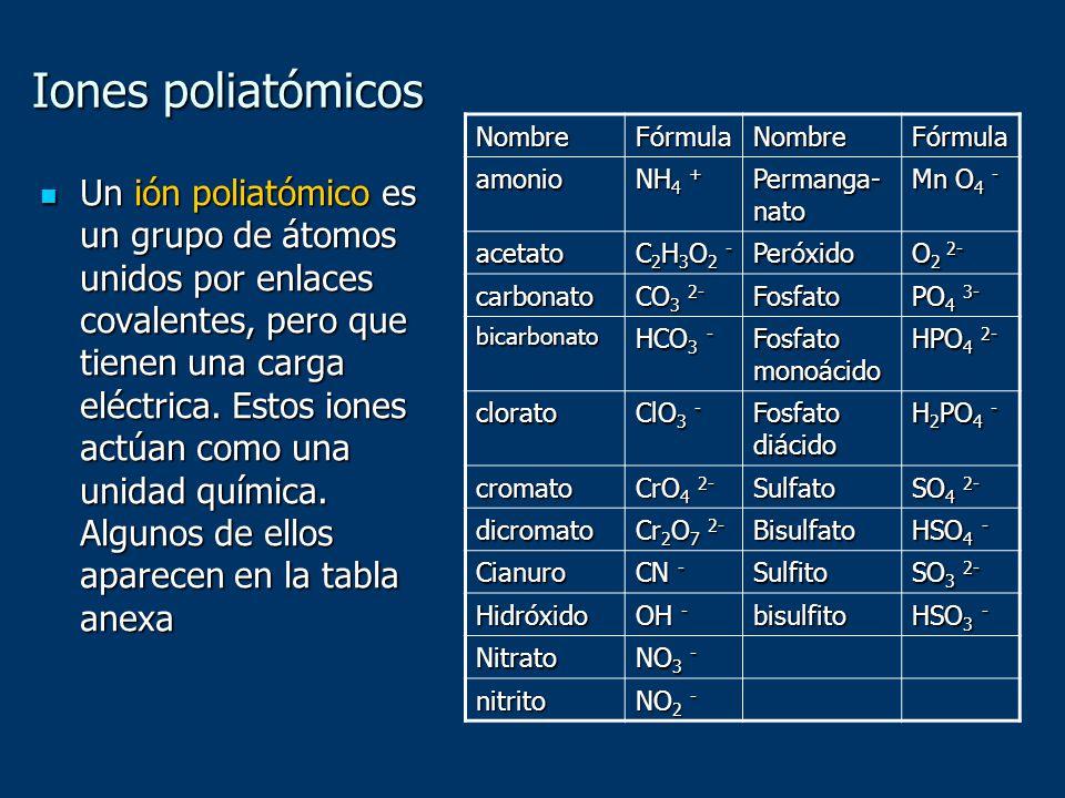 Iones poliatómicos Un ión poliatómico es un grupo de átomos unidos por enlaces covalentes, pero que tienen una carga eléctrica. Estos iones actúan com