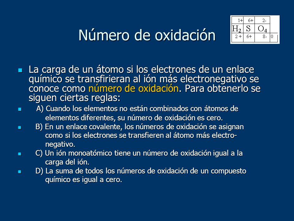 Número de oxidación La carga de un átomo si los electrones de un enlace químico se transfirieran al ión más electronegativo se conoce como número de o