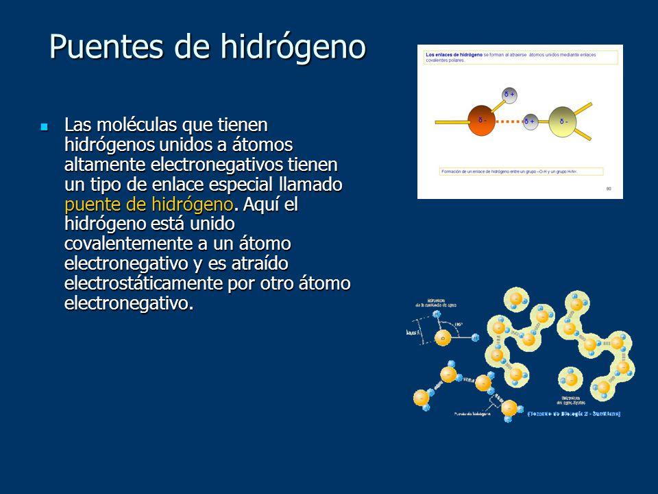 Puentes de hidrógeno Las moléculas que tienen hidrógenos unidos a átomos altamente electronegativos tienen un tipo de enlace especial llamado puente d