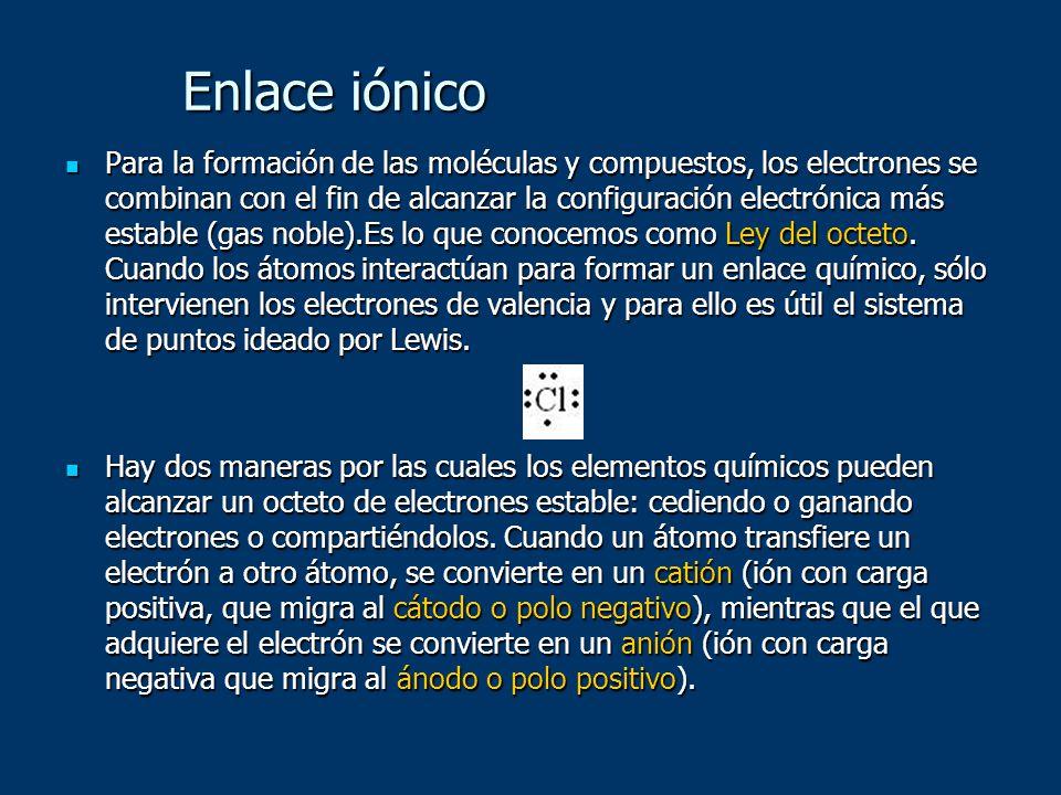 Enlace iónico Para la formación de las moléculas y compuestos, los electrones se combinan con el fin de alcanzar la configuración electrónica más esta