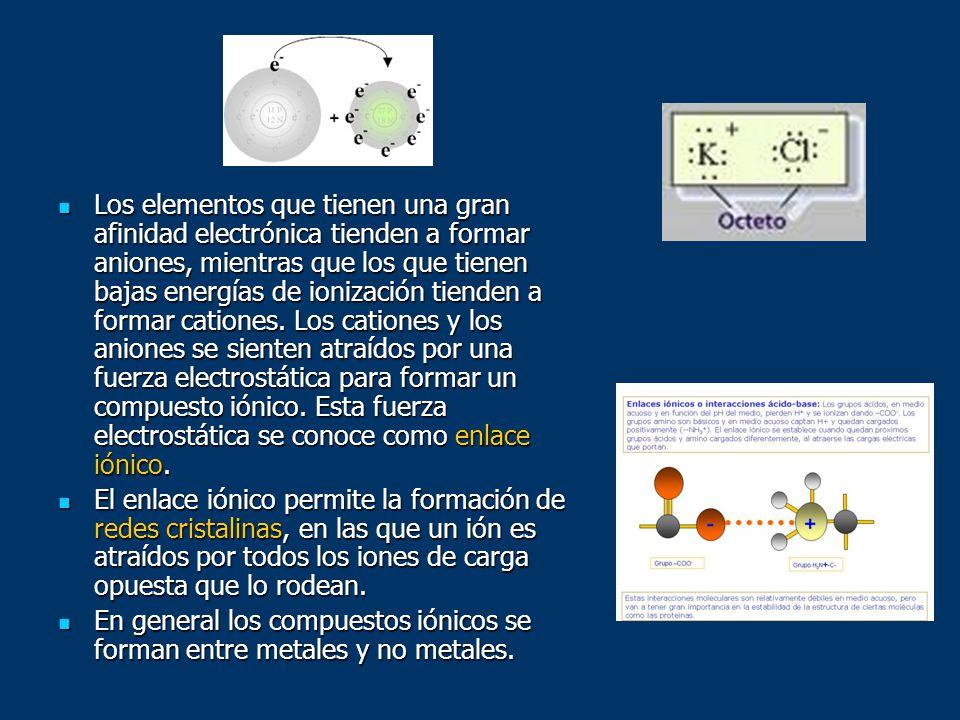 Los elementos que tienen una gran afinidad electrónica tienden a formar aniones, mientras que los que tienen bajas energías de ionización tienden a fo