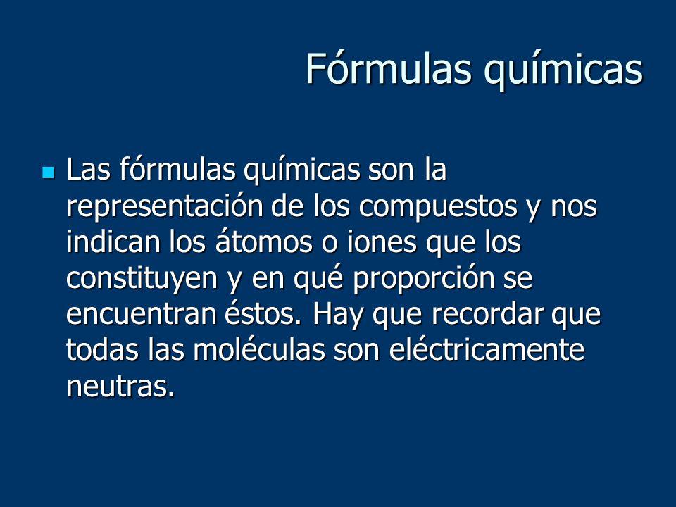 Fórmulas químicas Las fórmulas químicas son la representación de los compuestos y nos indican los átomos o iones que los constituyen y en qué proporci