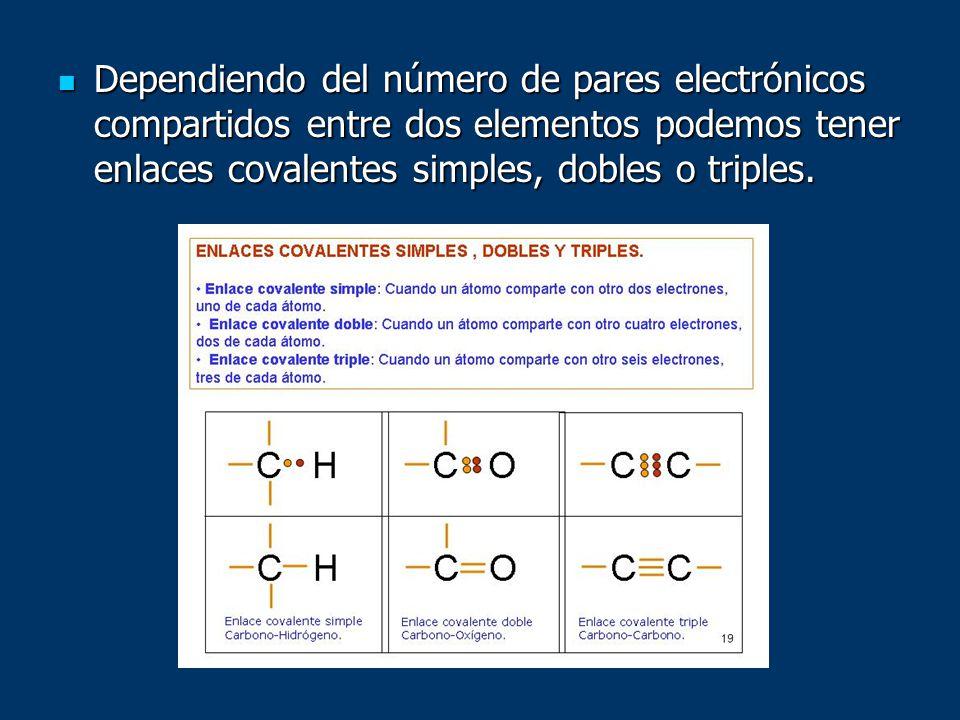 Dependiendo del número de pares electrónicos compartidos entre dos elementos podemos tener enlaces covalentes simples, dobles o triples. Dependiendo d