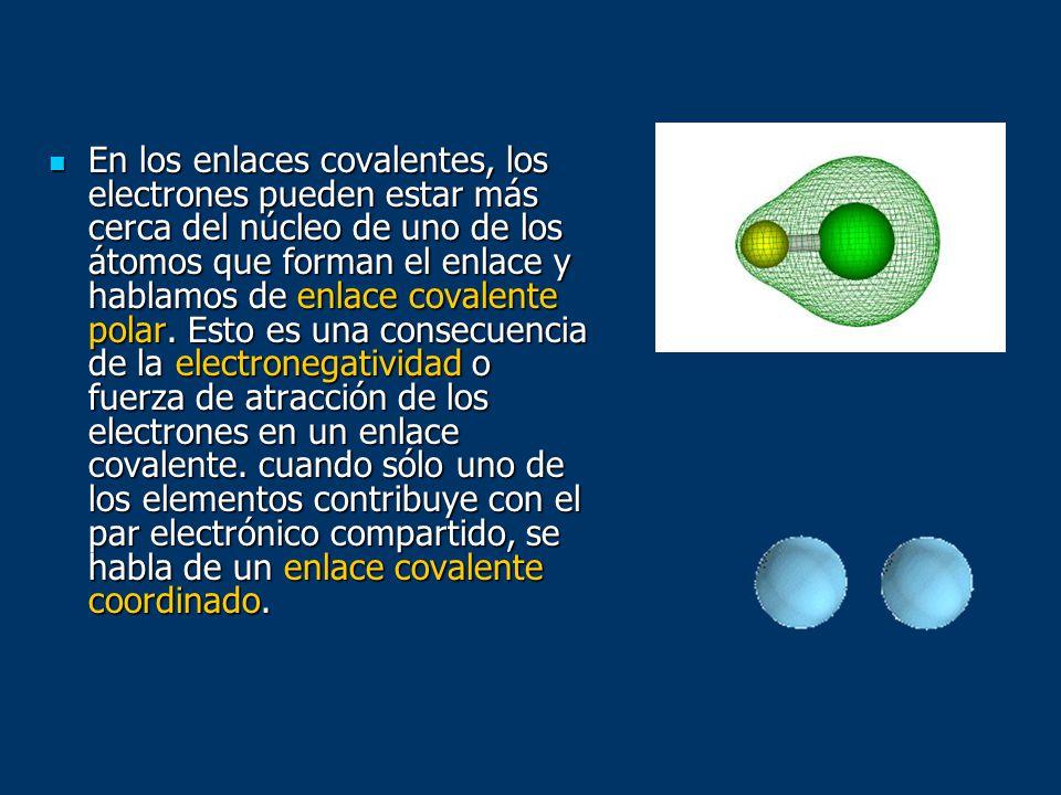 En los enlaces covalentes, los electrones pueden estar más cerca del núcleo de uno de los átomos que forman el enlace y hablamos de enlace covalente p