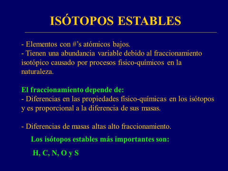 - Elementos con #s atómicos bajos. - Tienen una abundancia variable debido al fraccionamiento isotópico causado por procesos fisico-químicos en la nat