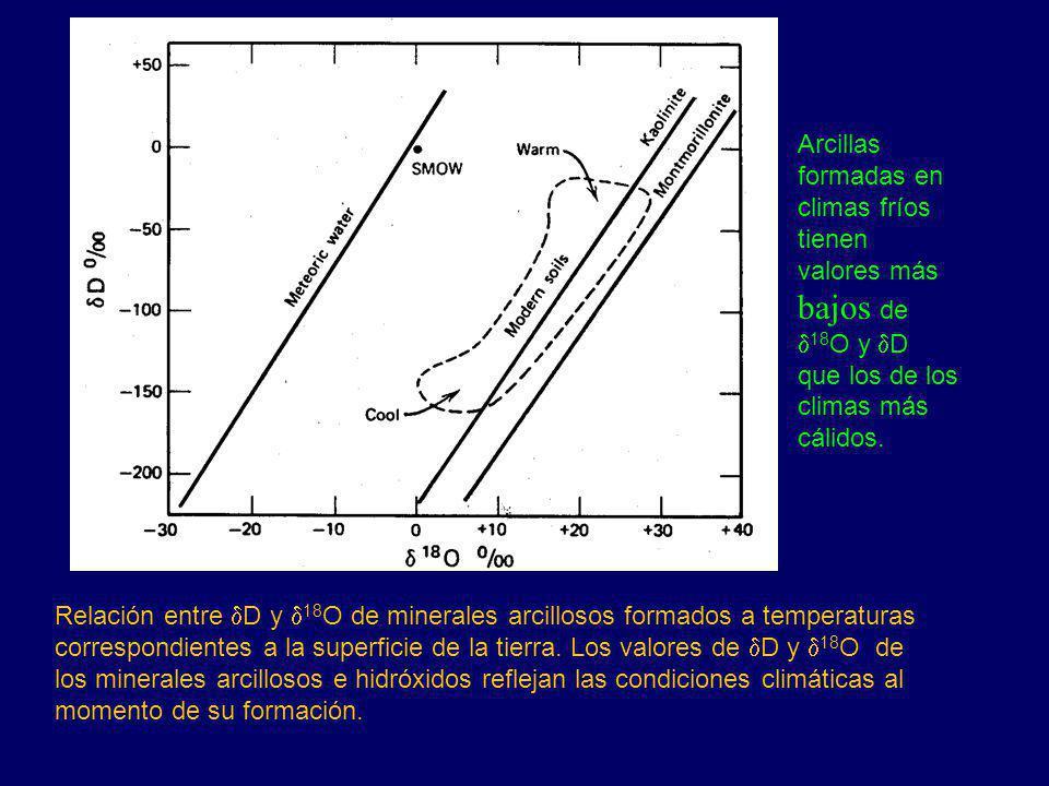 Relación entre D y 18 O de minerales arcillosos formados a temperaturas correspondientes a la superficie de la tierra. Los valores de D y 18 O de los