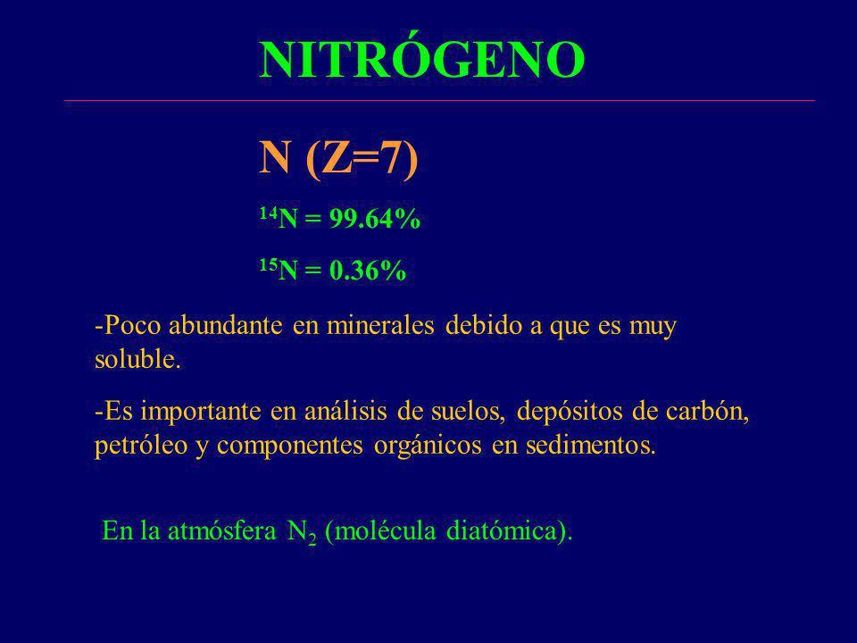 NITRÓGENO -Poco abundante en minerales debido a que es muy soluble. -Es importante en análisis de suelos, depósitos de carbón, petróleo y componentes