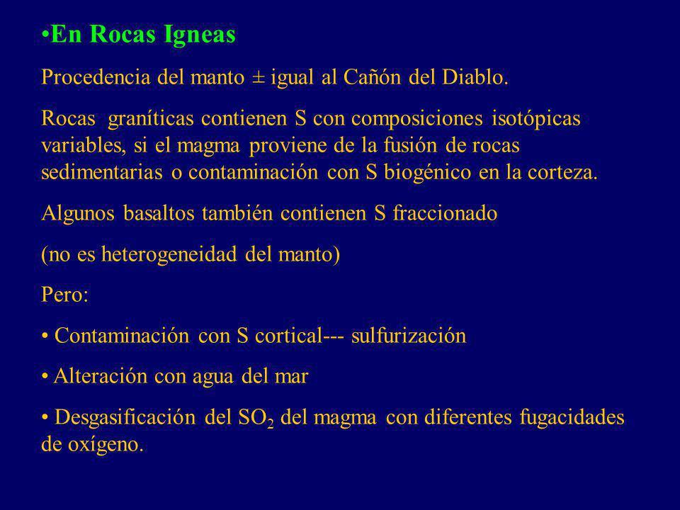 En Rocas Igneas Procedencia del manto ± igual al Cañón del Diablo. Rocas graníticas contienen S con composiciones isotópicas variables, si el magma pr