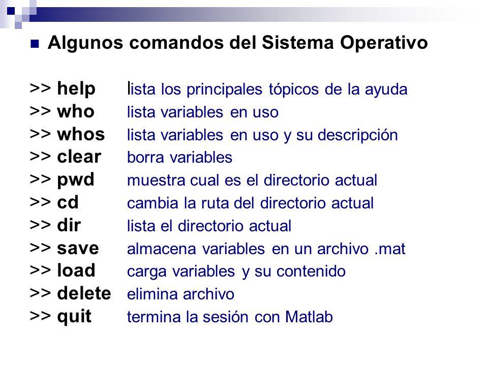 Algunos comandos del Sistema Operativo >> help l ista los principales tópicos de la ayuda >> who lista variables en uso >> whos lista variables en uso