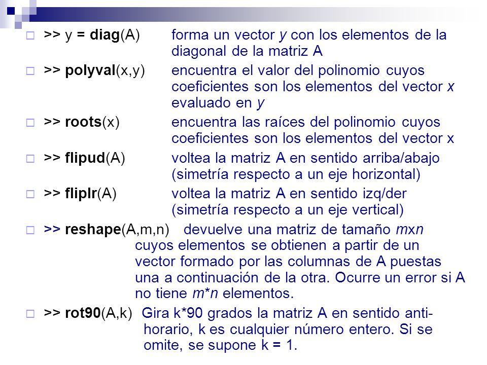 >> y = diag(A)forma un vector y con los elementos de la diagonal de la matriz A >> polyval(x,y)encuentra el valor del polinomio cuyos coeficientes son