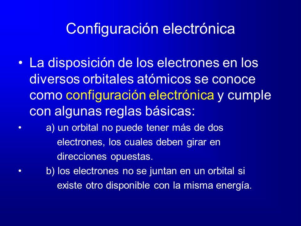 Configuración electrónica La disposición de los electrones en los diversos orbitales atómicos se conoce como configuración electrónica y cumple con al