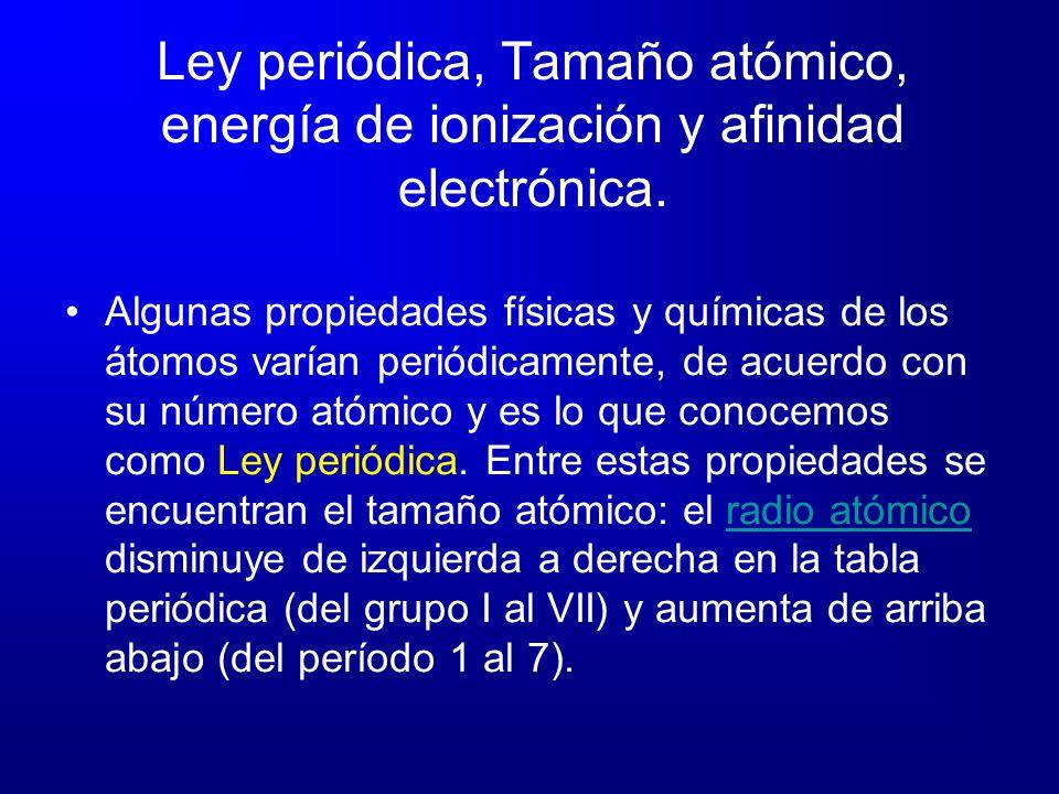 Ley periódica, Tamaño atómico, energía de ionización y afinidad electrónica. Algunas propiedades físicas y químicas de los átomos varían periódicament