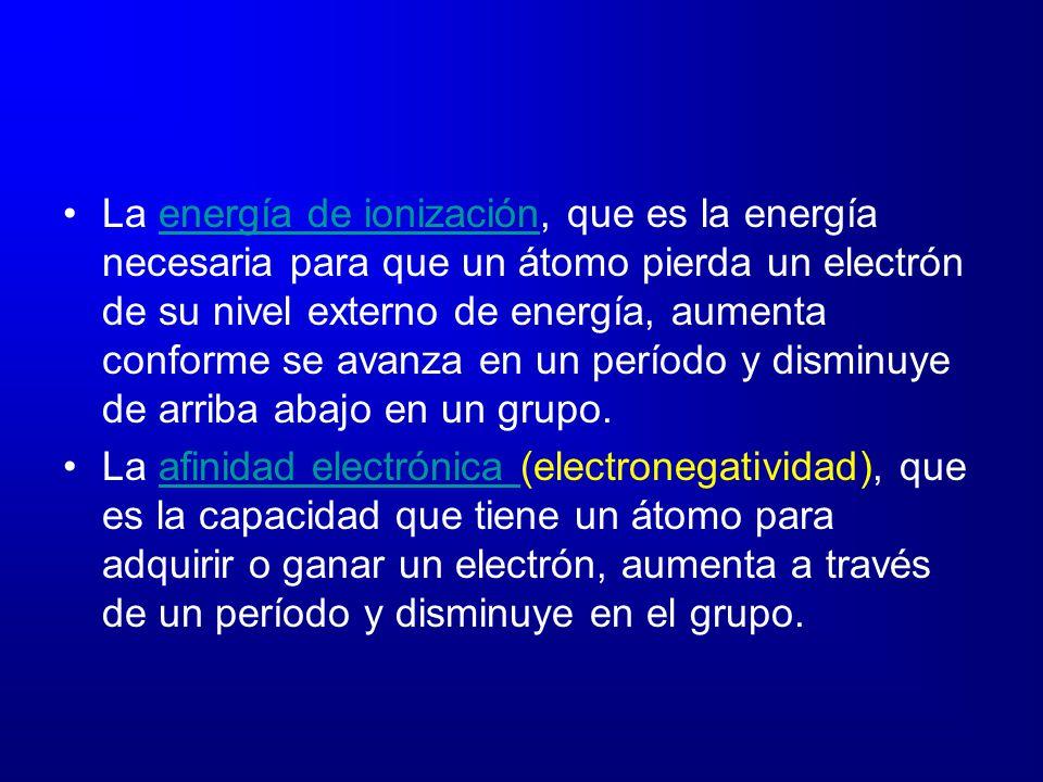 La energía de ionización, que es la energía necesaria para que un átomo pierda un electrón de su nivel externo de energía, aumenta conforme se avanza