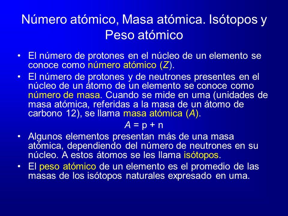 Número atómico, Masa atómica. Isótopos y Peso atómico El número de protones en el núcleo de un elemento se conoce como número atómico (Z). El número d