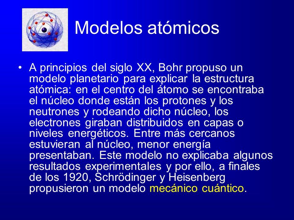 Modelos atómicos A principios del siglo XX, Bohr propuso un modelo planetario para explicar la estructura atómica: en el centro del átomo se encontrab