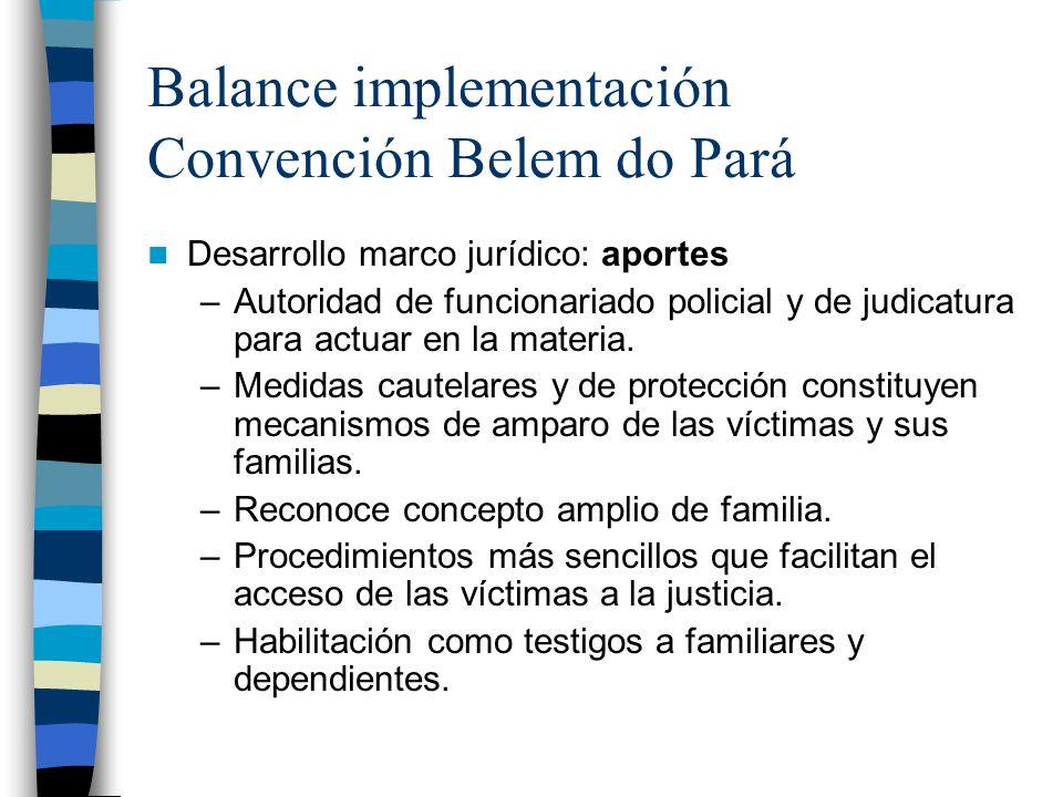 Balance implementación Convención Belem do Pará Desarrollo marco jurídico: aportes –Autoridad de funcionariado policial y de judicatura para actuar en la materia.
