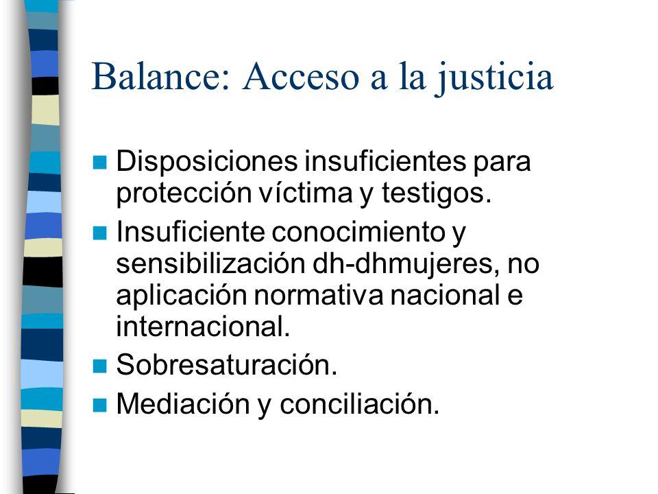Balance: Acceso a la justicia Disposiciones insuficientes para protección víctima y testigos.