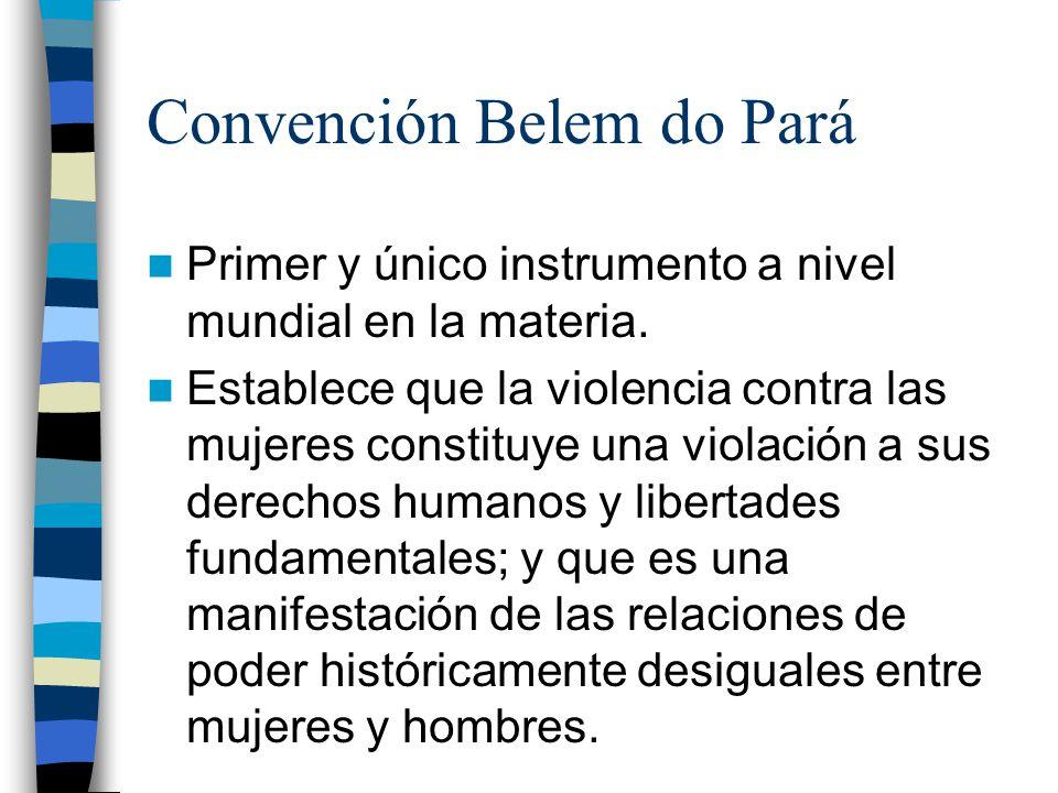 Convención Belem do Pará Primer y único instrumento a nivel mundial en la materia.