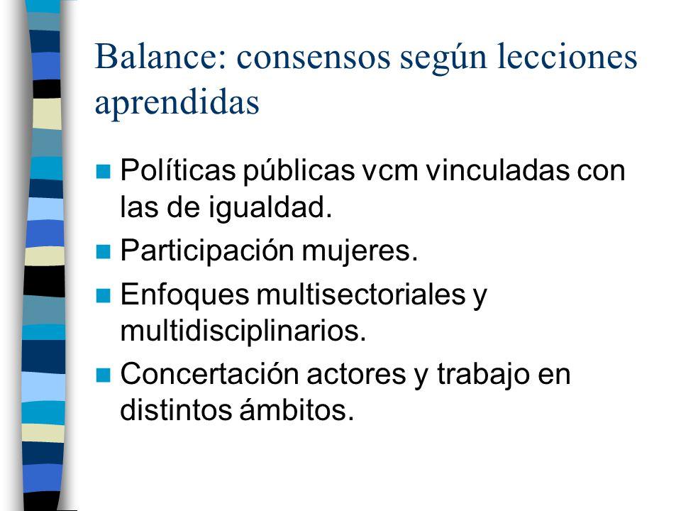 Balance: consensos según lecciones aprendidas Políticas públicas vcm vinculadas con las de igualdad.