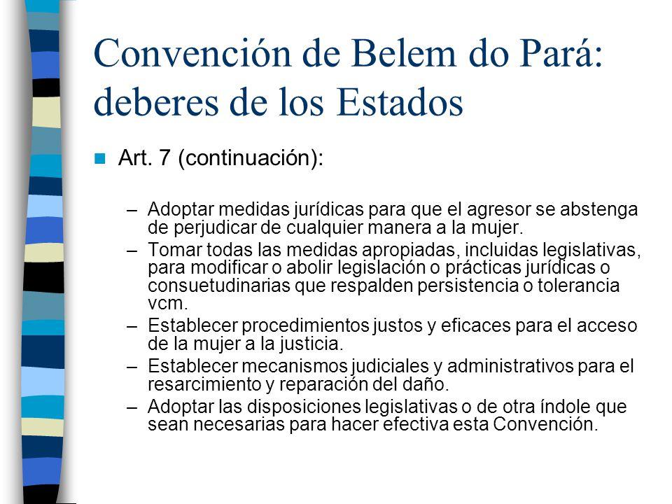 Convención de Belem do Pará: deberes de los Estados Art.