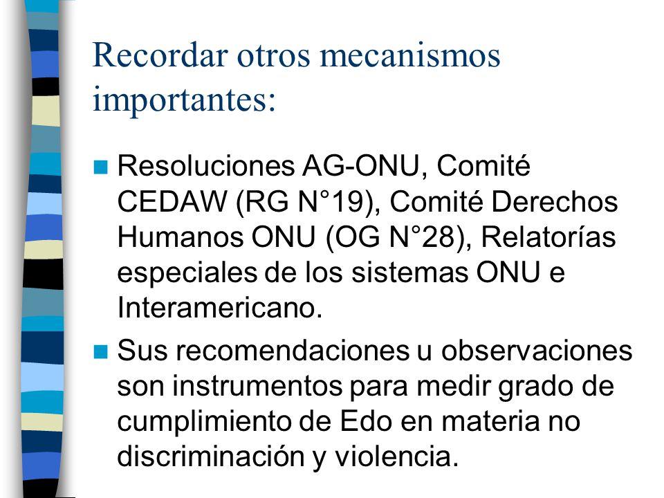 Recordar otros mecanismos importantes: Resoluciones AG-ONU, Comité CEDAW (RG N°19), Comité Derechos Humanos ONU (OG N°28), Relatorías especiales de los sistemas ONU e Interamericano.