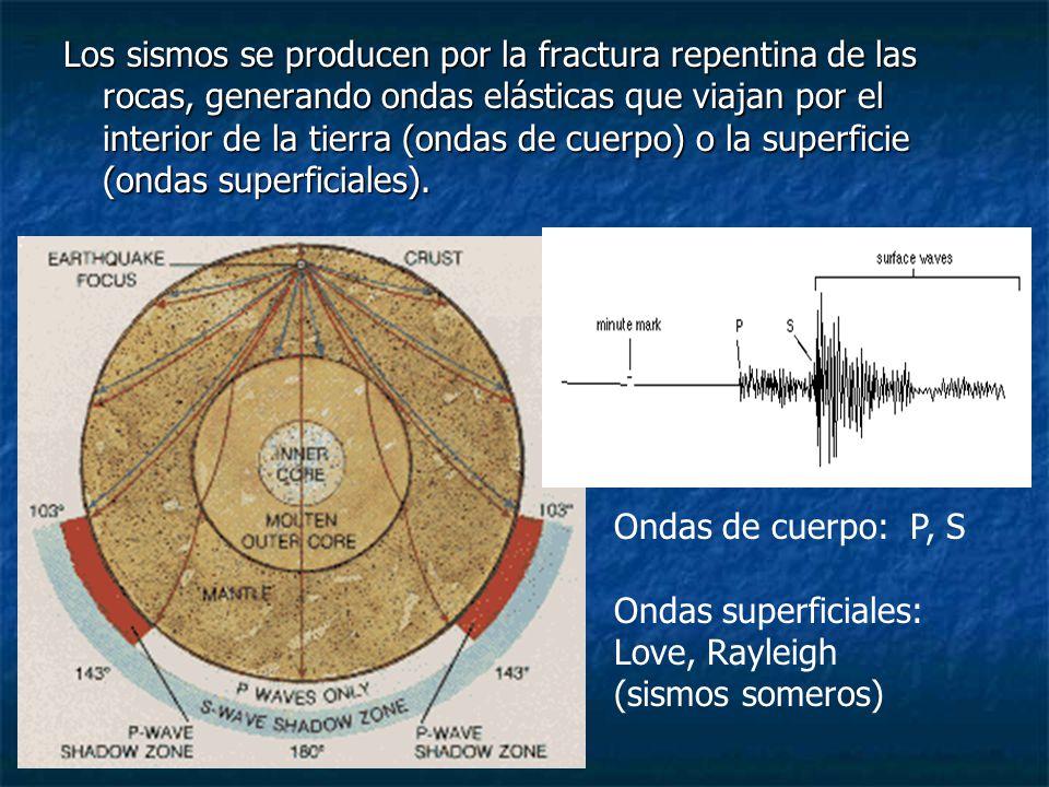 Los sismos se producen por la fractura repentina de las rocas, generando ondas elásticas que viajan por el interior de la tierra (ondas de cuerpo) o l