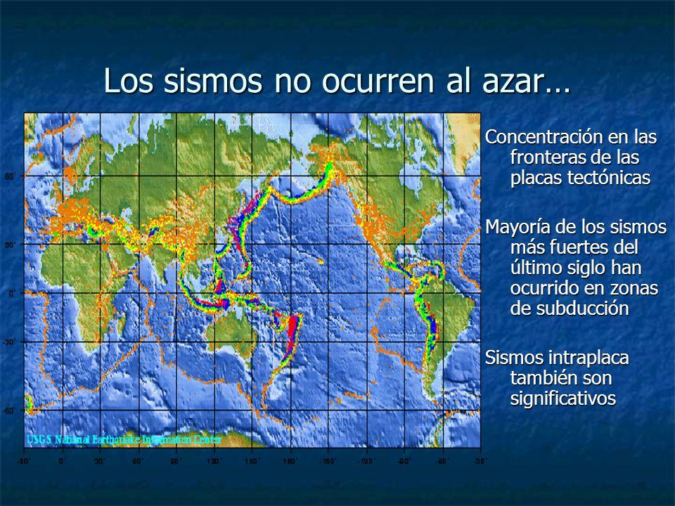 Los sismos no ocurren al azar… Concentración en las fronteras de las placas tectónicas Mayoría de los sismos más fuertes del último siglo han ocurrido en zonas de subducción Sismos intraplaca también son significativos